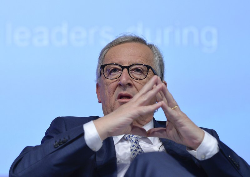 European Commission President Jean-Claude Juncker attends a meeting with the Young Citizens' Dialogue group in the Transylvanian town of Sibiu, Romania, Wednesday, May 8, 2019. (AP Photo/Andreea Alexandru)