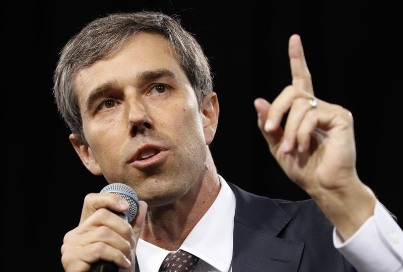 FILE - In this April 27, 2019, file photo,. Democratic presidential candidate and former Texas congressman Beto O'Rourke speaks at a Service Employees International Union forum on labor issues in Las Vegas. (AP Photo/John Locher, File)