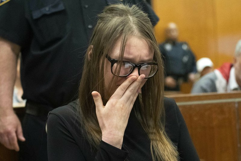 Anna Sorokin cries during sentencing at New York State Supreme Court in New York, Thursday, May 9, 2019. (Steven Hirsch/New York Post via AP, Pool)