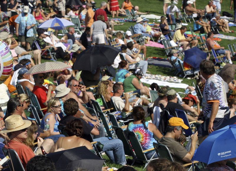 FILE - This Aug. 15, 2009 file photo shows a crowd on the lawn during the Heros of Woodstock concert at Bethel Woods Center for the Arts in Bethel, N. (AP Photo/Craig Ruttle, File)