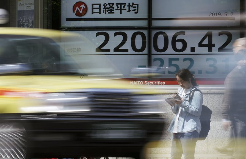 In this May 7, 2019, photo, an electronic stock board shows Japan's Nikkei 225 index at a securities firm in Tokyo. (AP Photo/Eugene Hoshiko)
