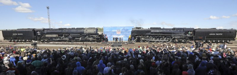 The Big Boy, No. 4014, left, and the Living Legend, No. 844, right, are photographed during the commemoration of the 150th anniversary of the Transcontinental Railroad completion at Union Station Thursday, May 9, 2019, in Ogden, Utah. (AP Photo/Rick Bowmer)