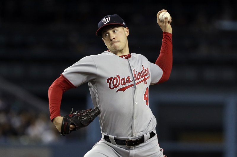 Washington Nationals starting pitcher Patrick Corbin throws to a Los Angeles Dodgers during the third inning of a baseball game Thursday, May 9, 2019, in Los Angeles. (AP Photo/Marcio Jose Sanchez)