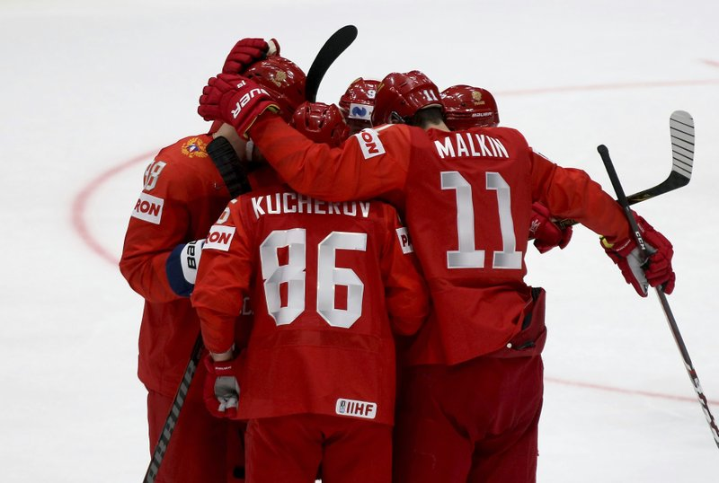 Russia's players celebrate after scoring during the Ice Hockey World Championships group B match between Russia and Norway at the Andrej Nepela Arena in Bratislava, Slovakia, Friday, May 10, 2019. (AP Photo/Ronald Zak)