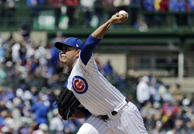 Chicago Cubs starting pitcher Jose Quintana throws against the Milwaukee Brewers during the first inning of a baseball game in Chicago, Friday, May 10, 2019. (AP Photo/Nam Y. Huh)