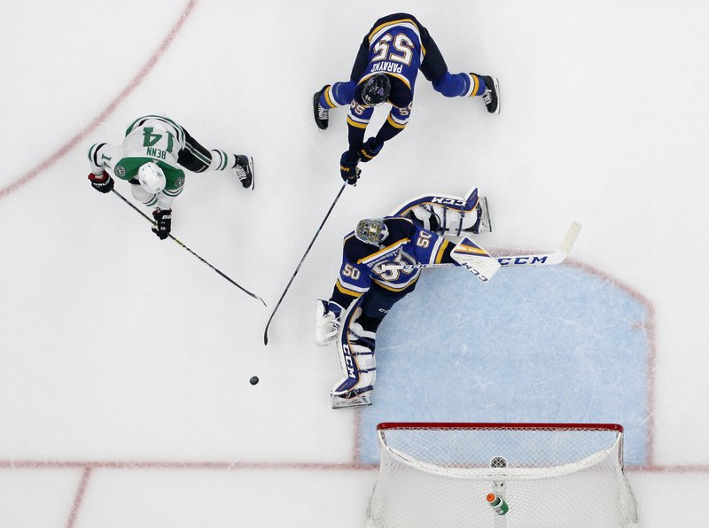 Dallas Stars left wing Jamie Benn (14) pressures as St. Louis Blues' Colton Parayko (55) and goaltender Jordan Binnington (50) defend the net during the second period in Game 7 of an NHL second-round hockey playoff series, Tuesday, May 7, 2019, in St. (AP Photo/Jeff Roberson)