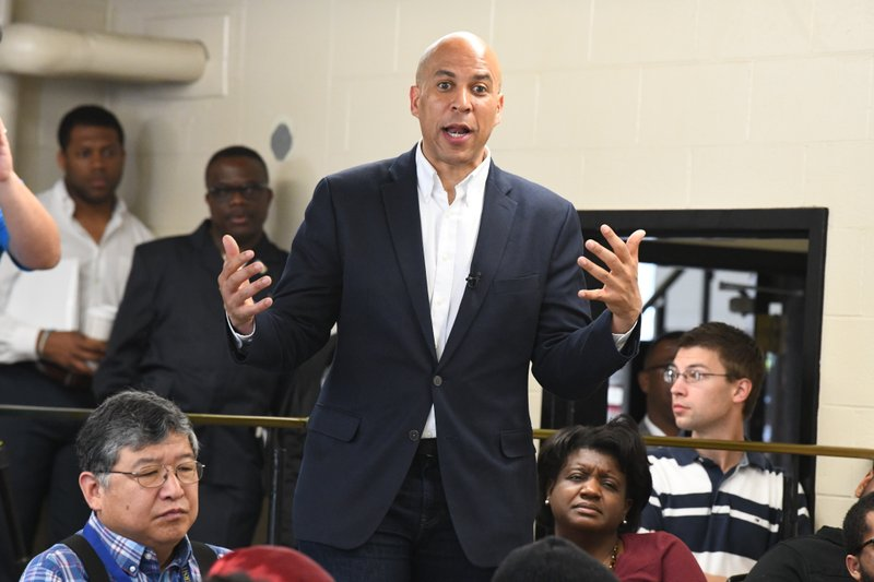 Democratic presidential candidate Sen. Cory Booker, D-N.J., speaks during a campaign stop on Friday, April 26, 2019, at Allen University in Columbia, S. (AP Photo/Meg Kinnard)