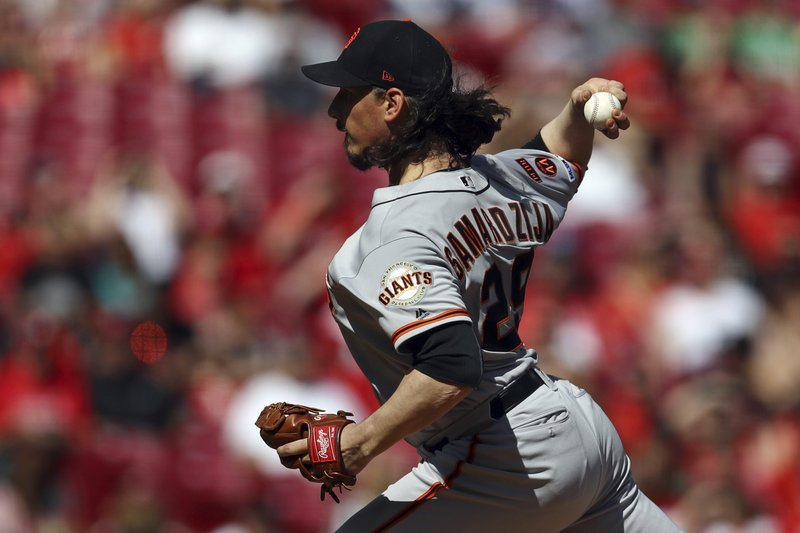 San Francisco Giants' Jeff Samardzija throws in the first inning of a baseball game against the Cincinnati Reds, Sunday, May 5, 2019, in Cincinnati. (AP Photo/Aaron Doster)