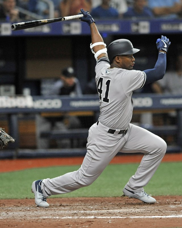 New York Yankees' Miguel Andujar watches his single off Tampa Bay Rays reliever Emilo Pagan during the sixth inning of a baseball game Friday, May 10, 2019, in St. (AP Photo/Steve Nesius)