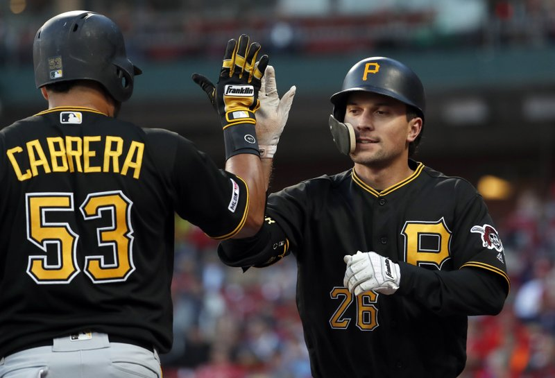 Pittsburgh Pirates' Adam Frazier (26) is congratulated by Melky Cabrera (53) after hitting a solo home run during the first inning of the team's baseball game against the St. (AP Photo/Jeff Roberson)