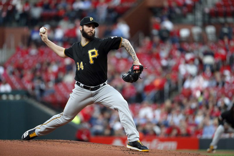 Pittsburgh Pirates starting pitcher Trevor Williams throws during the first inning of the team's baseball game against the St. (AP Photo/Jeff Roberson)