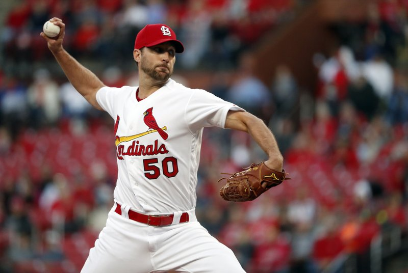 St. Louis Cardinals starting pitcher Adam Wainwright throws during the first inning of the team's baseball game against the Pittsburgh Pirates on Friday, May 10, 2019, in St. (AP Photo/Jeff Roberson)