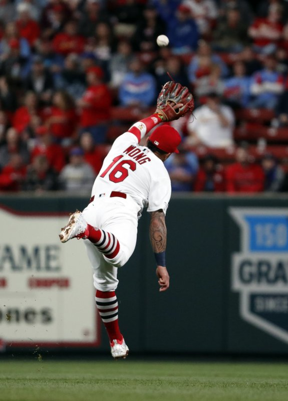 St. Louis Cardinals second baseman Kolten Wong is unable to reach a single by Pittsburgh Pirates' Bryan Reynolds during the fourth inning of a baseball game Friday, May 10, 2019, in St. (AP Photo/Jeff Roberson)