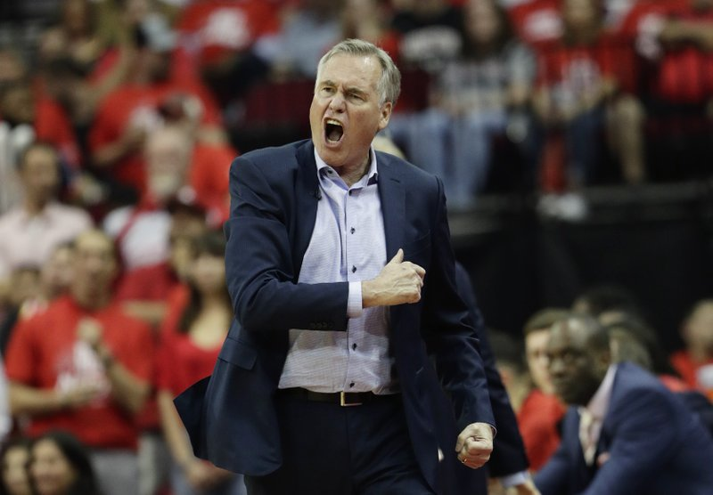 Houston Rockets coach Mike D'Antoni reacts during the second half in Game 6 of the team's second-round NBA basketball playoff series against the Golden State Warriors, Friday, May 10, 2019, in Houston. (AP Photo/Eric Gay)