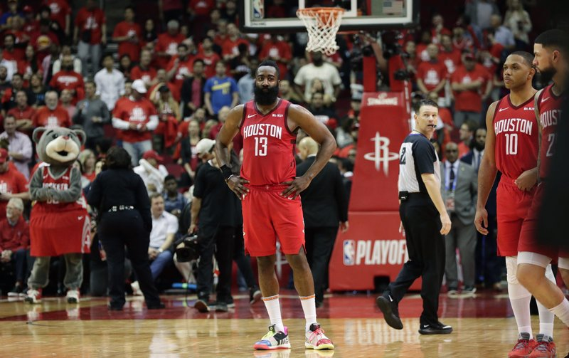 Houston Rockets guard James Harden (13) stands on the court during the final seconds of Game 6 of the team's second-round NBA basketball playoff series against the Golden State Warriors, Friday, May 10, 2019, in Houston. (AP Photo/Eric Gay)