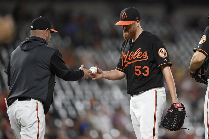 Baltimore Orioles starting pitcher Dan Straily (53) is pulled by manager Brandon Hyde, left, during the fifth inning of the team's baseball game against the Los Angeles Angels, Friday, May 10, 2019, in Baltimore. (AP Photo/Nick Wass)