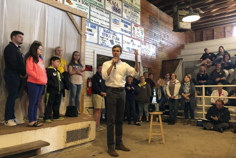 In this May 5, 2019, file photo, Democratic presidential candidate Beto O'Rourke addresses a town hall in Shenandoah, Iowa. (AP Photo/Will Weissert)