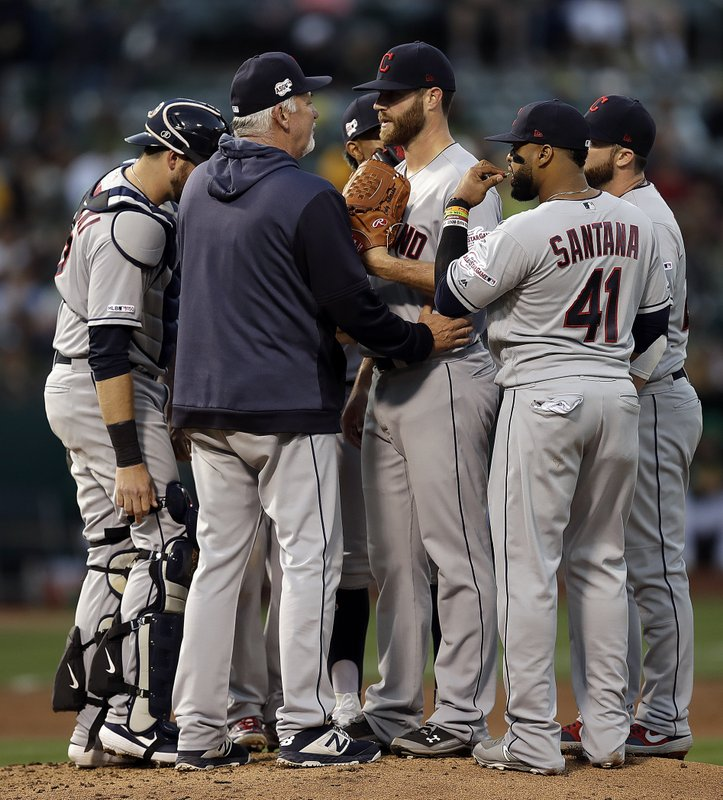Cleveland Indians pitcher Cody Anderson, center, speaks with pitching coach Carl Willis, second from left, during the third inning of the team's baseball game against the Oakland Athletics on Friday, May 10, 2019, in Oakland, Calif. (AP Photo/Ben Margot)