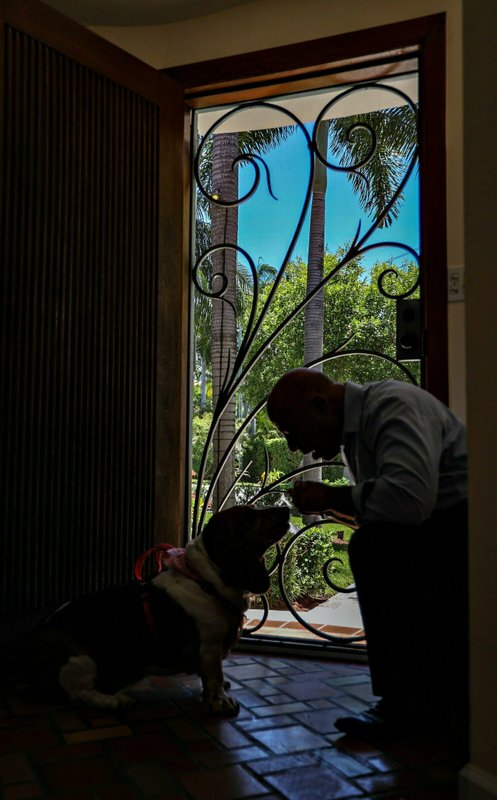 Richard Silverman gives snacks to his basset hound,