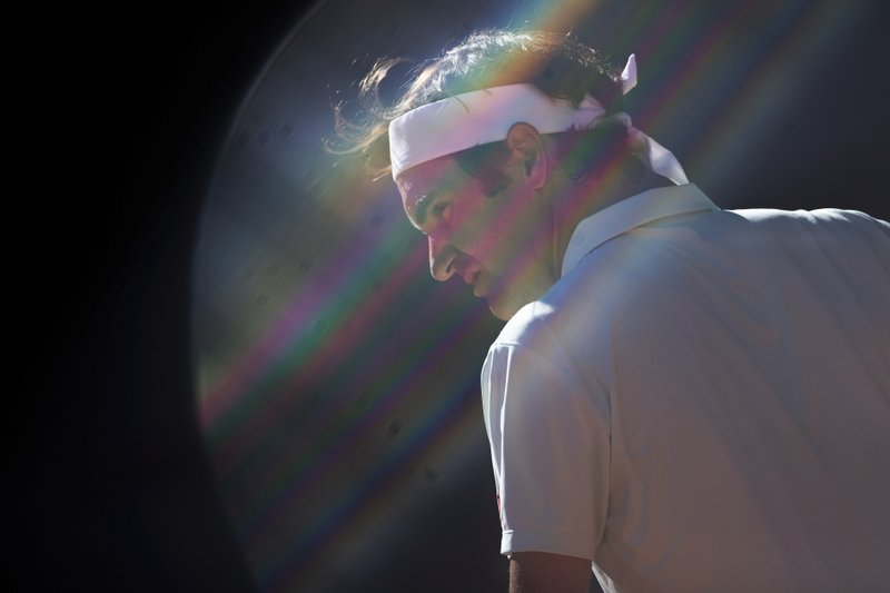 Roger Federer, from Switzerland, during the Madrid Open tennis match against Dominic Thiem, from Austria, in Madrid, Spain, Friday, May 10, 2019. (AP Photo/Bernat Armangue)