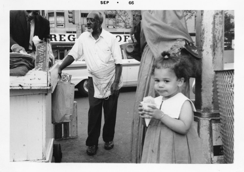 This September 1966 photo provided by the Kamala Harris campaign shows her during a family visit to the Harlem neighborhood of New York. (Kamala Harris campaign via AP)