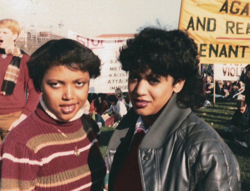 This November 1982 photo provided by the Kamala Harris campaign shows her, right, with Gwen Whitfield at an anti-apartheid protest during her freshman year at Howard University in Washington. (Kamala Harris campaign via AP)