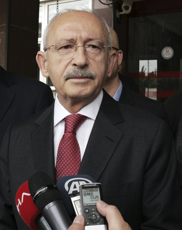 Kemal Kilicdaroglu, the leader of Turkey's main opposition Republican People's Party, speaks to the media after visiting Yavuz Selim Demirag, a Turkish journalist critical of President Recep Tayyip Erdogan's government and its nationalist allies, outside a hospital in Ankara, Turkey, Saturday, May 11, 2019. (AP Photo/Burhan Ozbilici)
