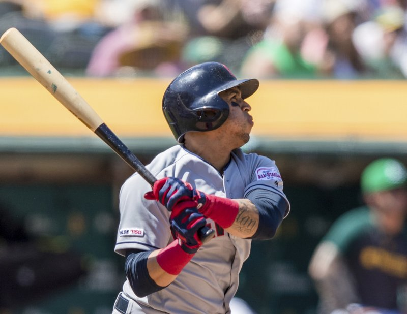 Cleveland Indians' Leonys Martin hits a solo home run against the Oakland Athletics in the fifth inning of a baseball game Saturday, May 11, 2019, in Oakland, Calif. (AP Photo/John Hefti)