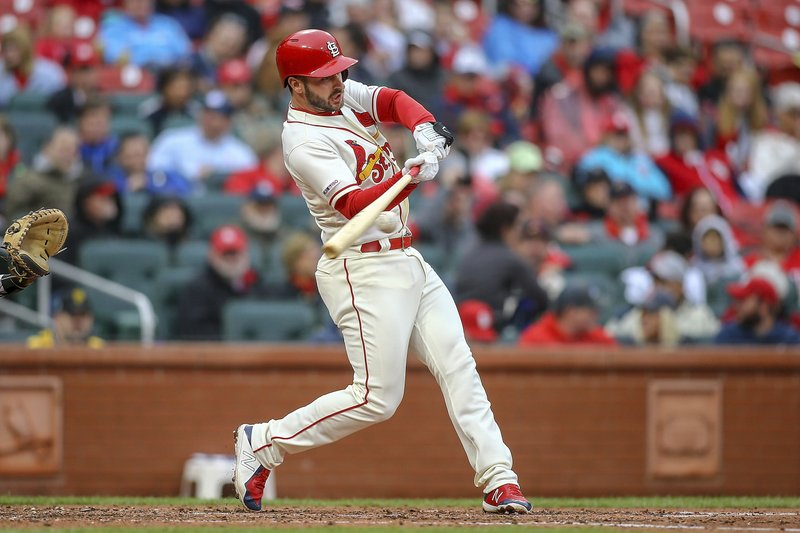 St. Louis Cardinals' Paul DeJong hits a RBI double during the third inning of a baseball game against the Pittsburgh Pirates, Saturday, May 11, 2019, in St. (AP Photo/Scott Kane)
