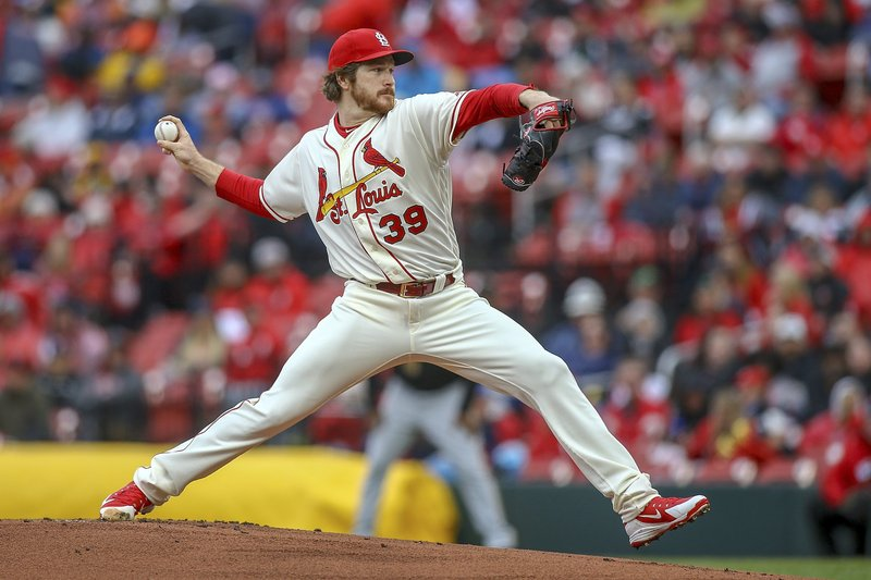 St. Louis Cardinals starting pitcher Miles Mikolas throws during the first inning of a baseball game against the Pittsburgh Pirates, Saturday, May 11, 2019, in St. (AP Photo/Scott Kane)