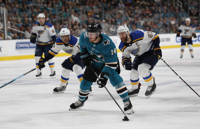 San Jose Sharks' Gustav Nyquist (14) moves the puck downice against St. Louis Blues' Brayden Schenn (10) and Alex Pietrangelo (27) in the first period in Game 1 of the NHL hockey Stanley Cup Western Conference finals in San Jose, Calif. (AP Photo/Josie Lepe)