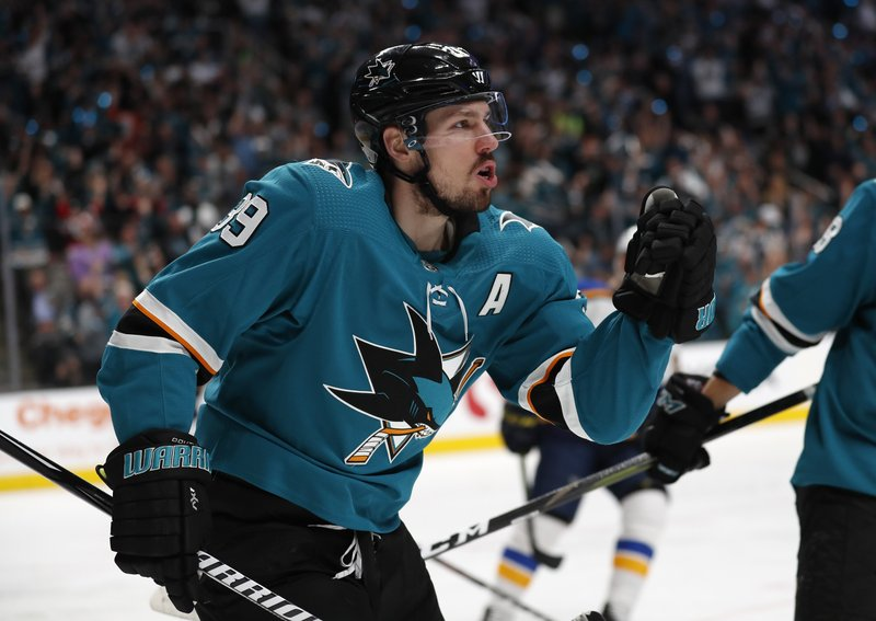 San Jose Sharks' Logan Couture (39) celebrates after scoring a goal against the St. Louis Blues in the first period in Game 1 of the NHL hockey Stanley Cup Western Conference finals in San Jose, Calif. (AP Photo/Josie Lepe)