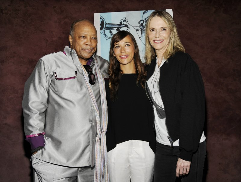 FILE - In this Sept. 17, 2014 file photo, Quincy Jones, left, a producer of the documentary film