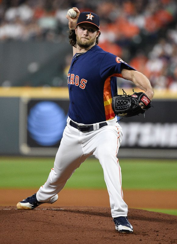 Houston Astros starting pitcher Gerrit Cole delivers during the first inning of the team's baseball game against the Texas Rangers, Saturday, May 11, 2019, in Houston. (AP Photo/Eric Christian Smith)