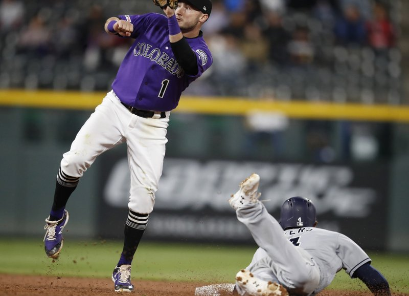 San Diego Padres' Wil Myers, right, steals second base as Colorado Rockies second baseman Garrett Hampson catches the throw during the ninth inning of a baseball game Saturday, May 11, 2019, in Denver. (AP Photo/David Zalubowski)