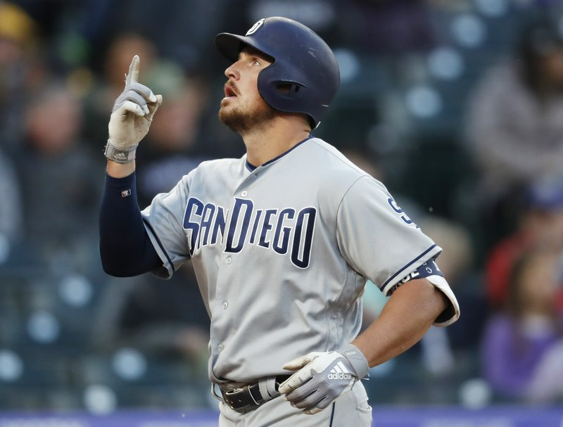 San Diego Padres' Hunter Renfroe gestures as he crosses home plate after hitting a solo home run off Colorado Rockies starting pitcher Jon Gray during the fourth inning of a baseball game Saturday, May 11, 2019, in Denver. (AP Photo/David Zalubowski)