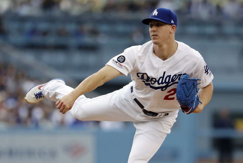 Los Angeles Dodgers starting pitcher Walker Buehler throws to a Washington Nationals batter during the first inning of a baseball game Saturday, May 11, 2019, in Los Angeles. (AP Photo/Marcio Jose Sanchez)