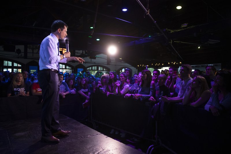 FILE - In a Thursday, May 9, 2019 file photo, Democratic presidential candidate Pete Buttigieg addresses supporters at a campaign event, in West Hollywood, Calif. (AP Photo/Jae C. Hong, File)
