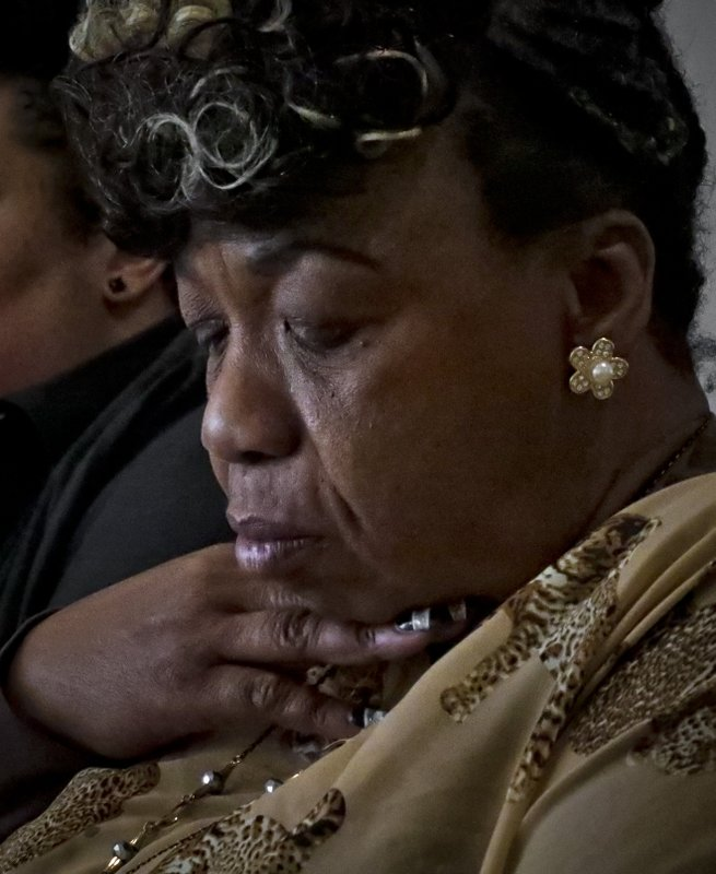 In this Wednesday May 8, 2019, photo, Gwen Carr, mother of Eric Garner- an unarmed black man who died as he was being subdued in a chokehold by NYPD police officer Daniel Pantaleo nearly five years ago, speaks during an interview in New York. (AP Photo/Bebeto Matthews)