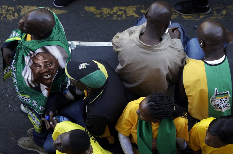 Supporters of African National Congress (ANC), during their celebration of the election victory in Johannesburg, South Africa, Sunday, May 12, 2019. (AP Photo/Themba Hadebe)