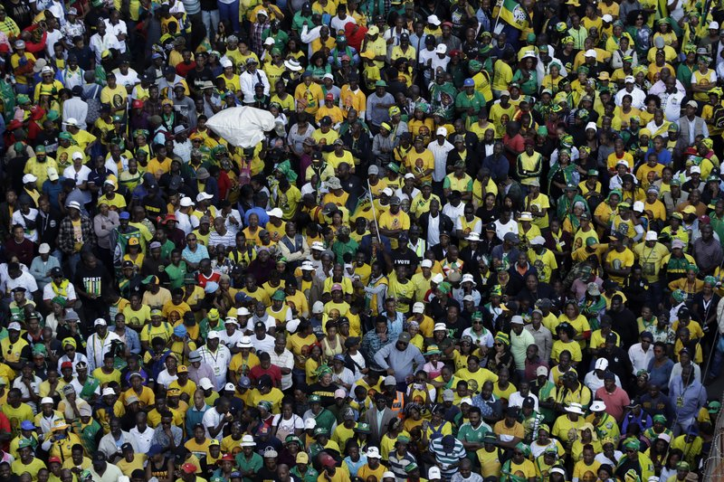 Supporters of African National Congress (ANC), during their celebration for election victory in Johannesburg, South Africa, Sunday, May 12, 2019. (AP Photo/Themba Hadebe)