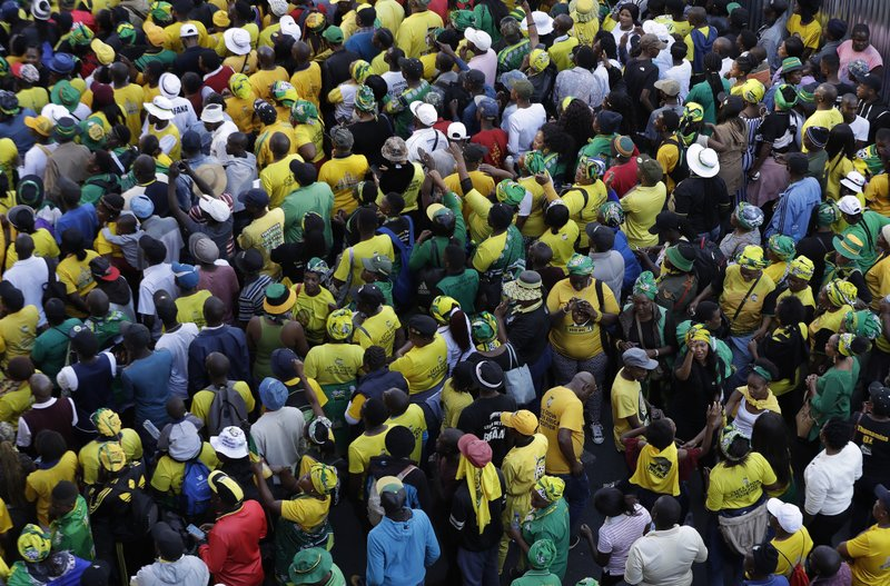 Supporters of African National Congress (ANC) gather during their celebration after the election victory in Johannesburg, South Africa, Sunday, May 12, 2019. (AP Photo/Themba Hadebe)