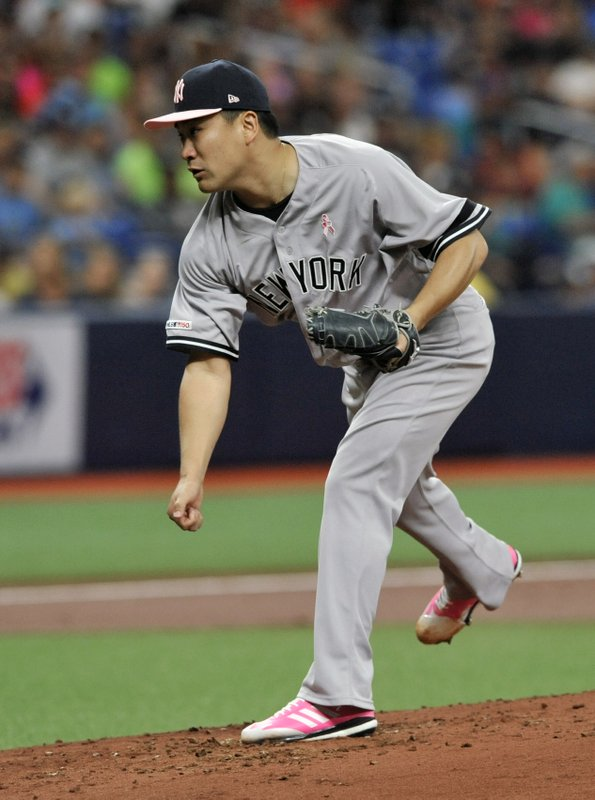 New York Yankees starter Masahiro Tanaka pitches against the Tampa Bay Rays during the second inning of a baseball game Sunday, May 12, 2019, in St. (AP Photo/Steve Nesius)