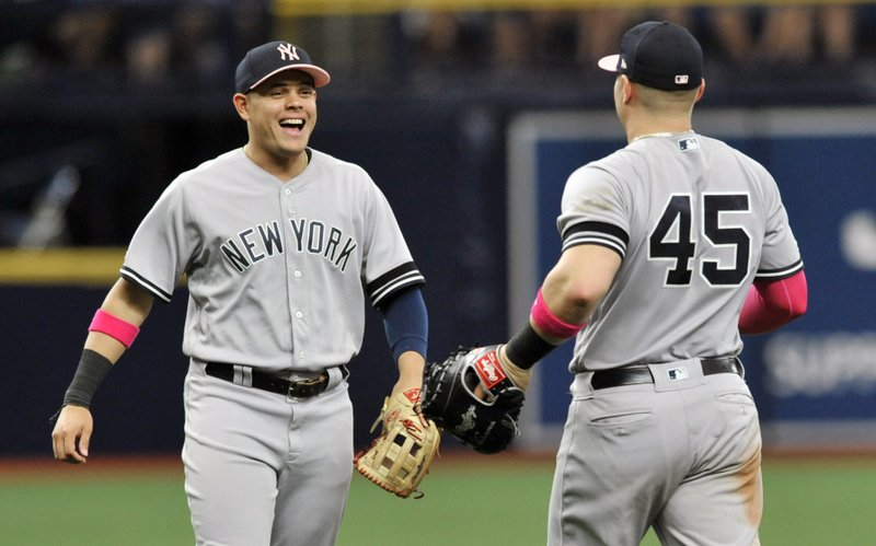 New York Yankees' Gio Urshela, left and Luke Voit, right, celebrate a 7-1 win over the Tampa Bay Rays during a baseball game Sunday, May 12, 2019, in St. (AP Photo/Steve Nesius)