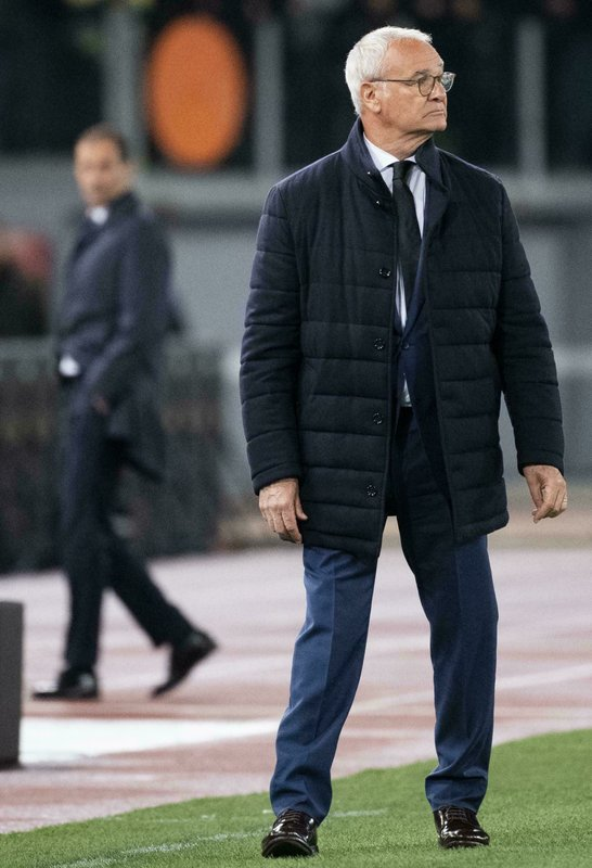Romas Head Coach Claudio Ranieri during a Serie A soccer match as Roma - FC Juventus at Olimpico Stadium in Rome, Sunday, May 12, 2019. (Claudio Peri/ANSA via AP)