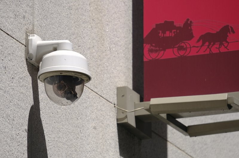 This photo taken Tuesday, May 7, 2019, shows a security camera in the Financial District of San Francisco. (AP Photo/Eric Risberg)