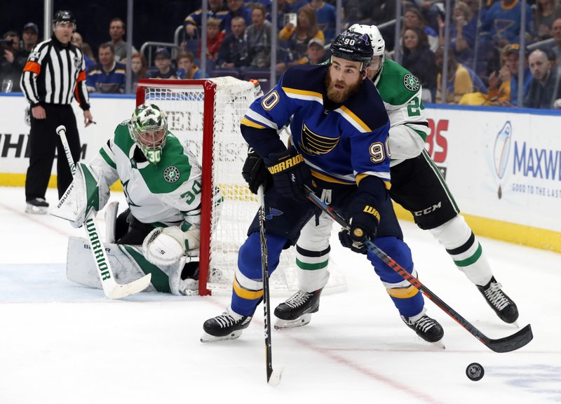 Dallas Stars goaltender Ben Bishop (30) watches as St. Louis Blues center Ryan O'Reilly (90) attempts to set up a shot during the second period in Game 7 of an NHL second-round hockey playoff series, Tuesday, May 7, 2019, in St. (AP Photo/Jeff Roberson)