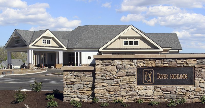 This May 8, 2019 photo shows the nearly completed new clubhouse at TPC River Highands in Cromwell, Conn. (AP Photo/Pat Eaton-Robb)