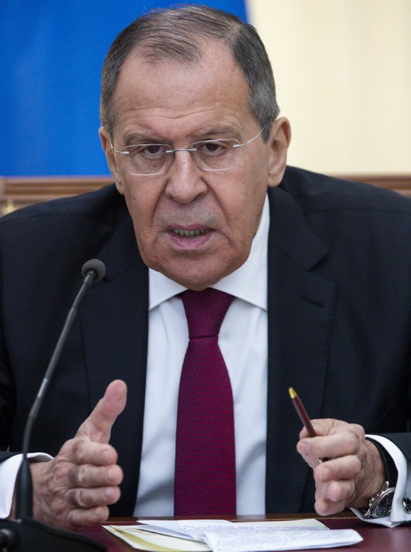 Russian Foreign Minister Sergey Lavrov speaks to the media during his and Chinese Foreign Minister Wang Yi joint news conference following the talks in Sochi, Russia, Monday, May 13, 2019. (AP Photo/Pavel Golovkin, Pool)