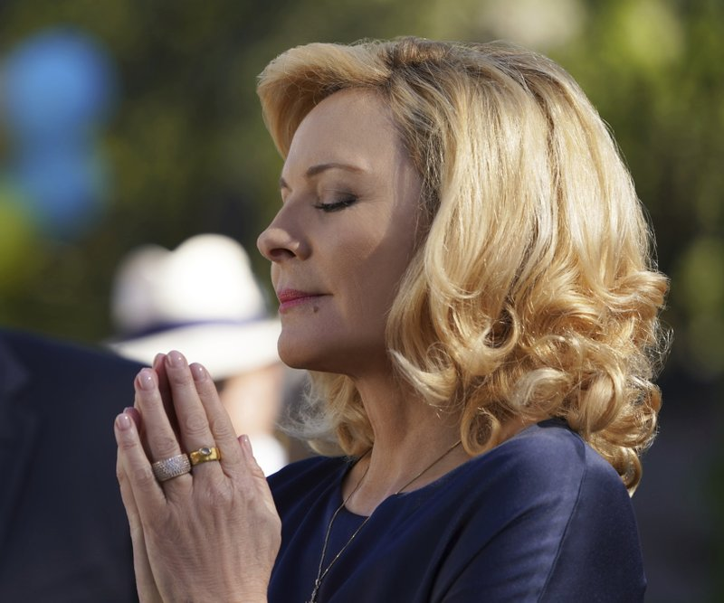"""This image provided by Fox Broadcasting Co. on Monday, May 13, 2019, shows Kim Cattrall in a scene from the network's upcoming drama """"Filthy Rich. (Alan Markfield/FOX via AP)"""